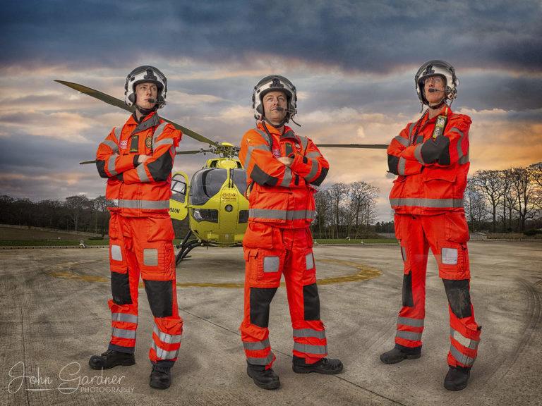 dramatic shot of Yorkshire Air Ambulance paramedics, commercial photography Wakefield