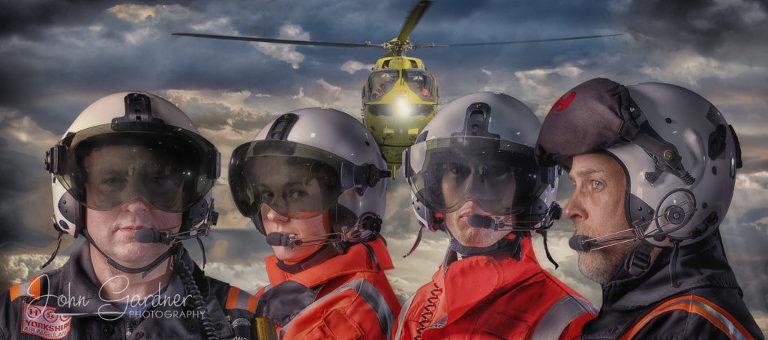 impact shot of Yorkshire Air Ambulance pilots and paramedics