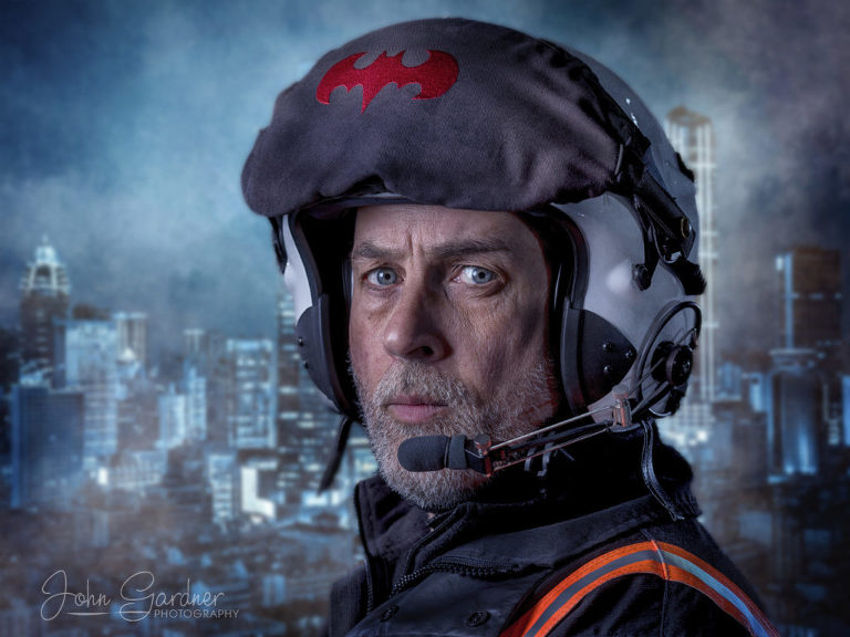 dramatic portrait of Air Ambulance pilot, commercial photographyt and retouching by John Gardner